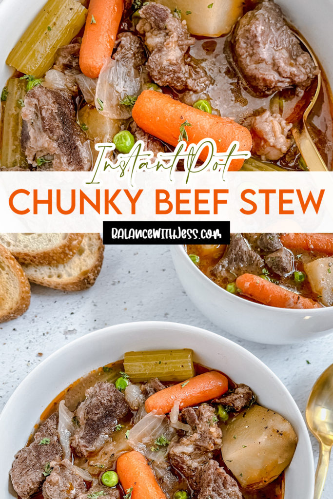 Pinterest image for Instant Pot Chunky Beef Stew